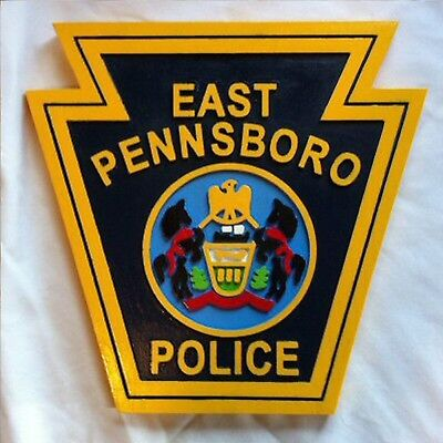 Police East Pennsboro  routed carved award  wood patch plaque sign Custom