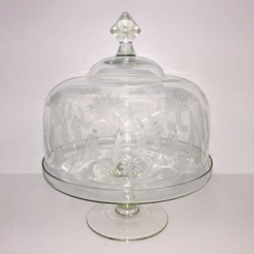 Princess House Glass Covered Cake Stand With Etched Dome Cover