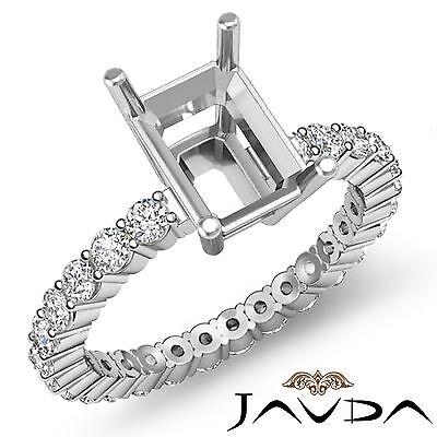 Emerald Semi Mount Ring - Diamond Engagement Eternity Style Ring Emerald Semi Mount Platinum 950 0.8Ct