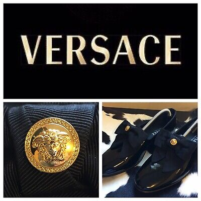 VERSACE black patten leather loafer