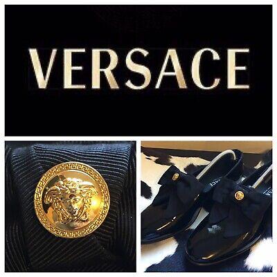 VERSACE black patten leather loafer