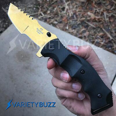 9  Razor Tactical Gold Tracker Huntsman Spring Assisted Folding Pocket Knife New