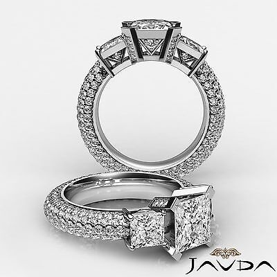3 Stone Micro Pave Set Princess Diamond Engagement Wedding Ring GIA G VS2 3.8Ct
