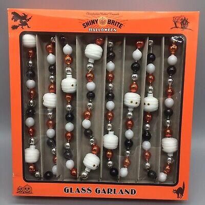 RADKO Shiny Brite Halloween White Mummy GLASS GARLAND 7ft Black Orange Silver