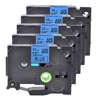 5pk Tze531 Tz531 Black On Blue Label Tape 12mm 12 For Brother P-touch Printer