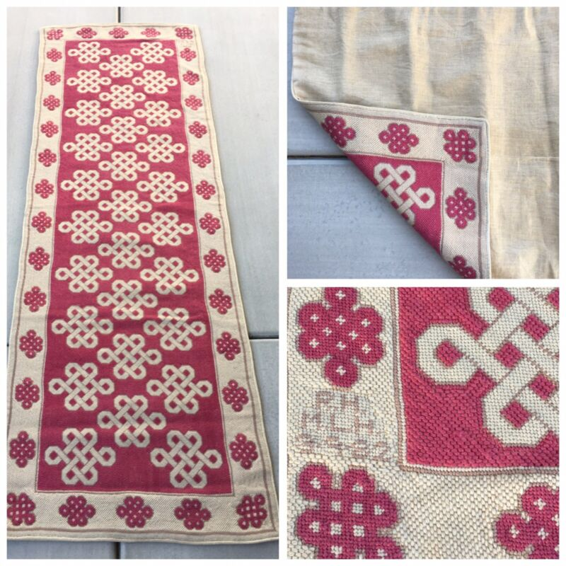 "Hand-Made + Signed Pink Irish Celtic Design Embroidered Needlepoint Rug 25""x74"""