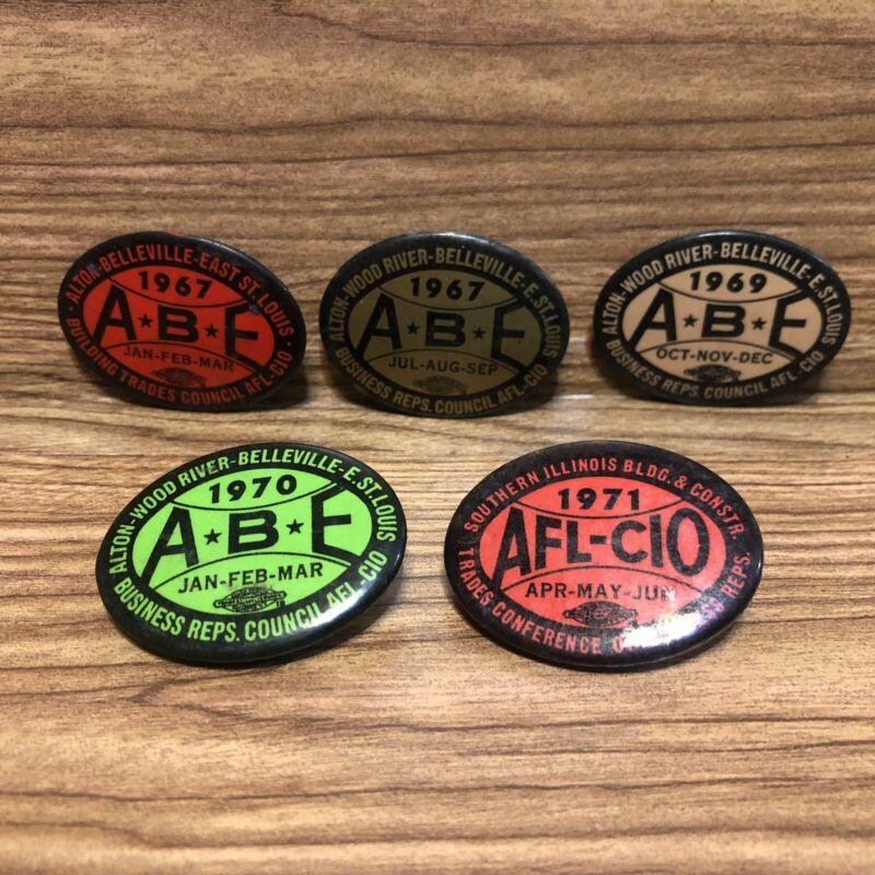 5 Vtg Alton Belleville East St Louis IL Business Reps AFL CIO Pinback Buttons