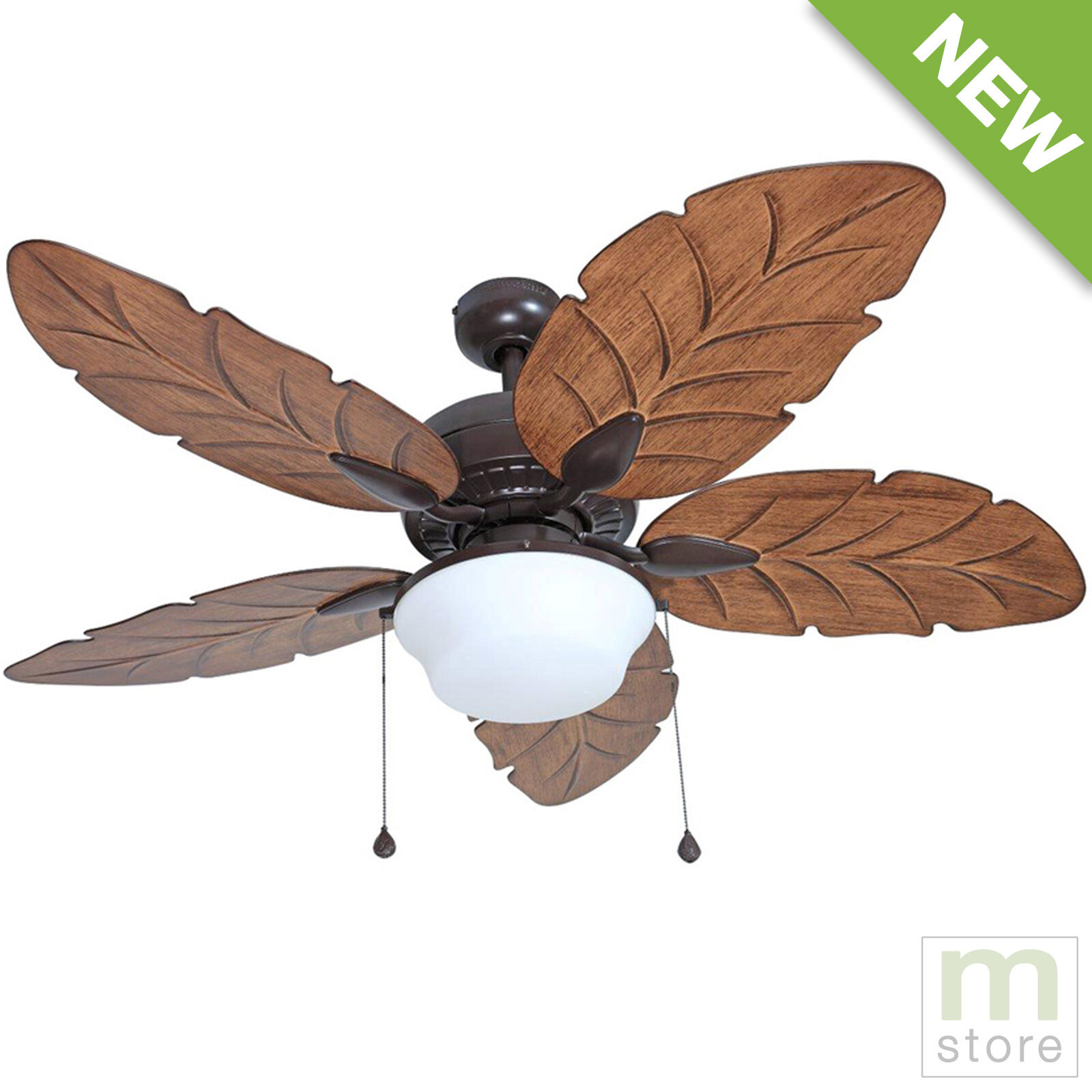 "Tropical Outdoor Ceiling Fan: 52"" Ceiling Fan With Light Kit Indoor Outdoor Downrod"