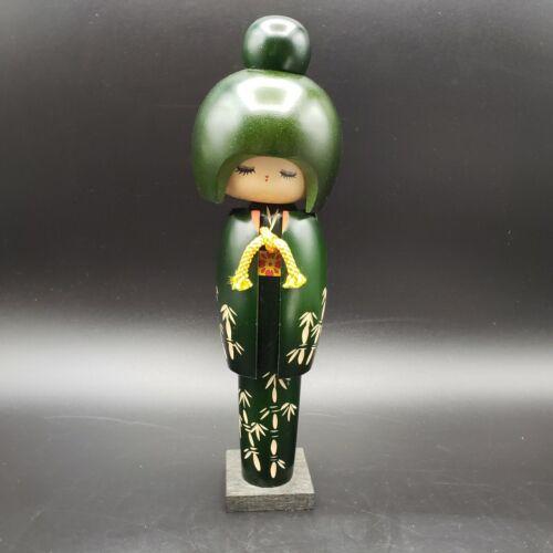 Modern Japanese Kokeshi Doll Tall Green Kimono Bamboo Tassel Footed Topknot