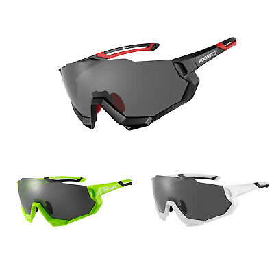 ROCKBROS Polarisierte Brille Fahhrad Sonnebrille Wechselobjektive 3 Farbe Neu