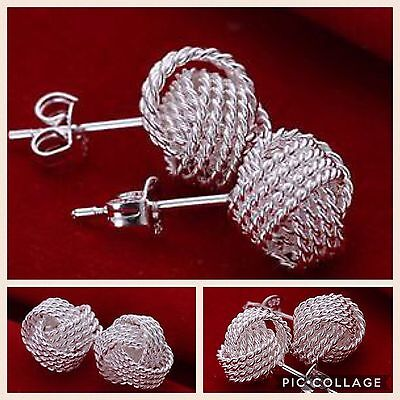 New Sterling Silver Love Knot Woven Twisted Stud Earrings For Women