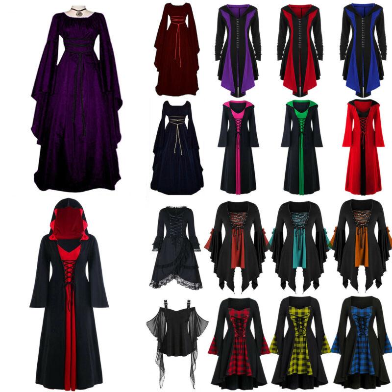 Damen Karneval Kostüm Mittelalter Hexe Vampir Cosplay Party Kleid DE