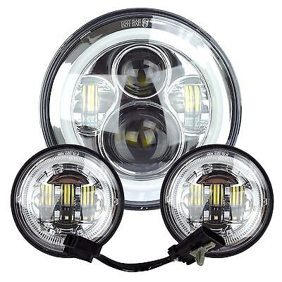 """7"""" Chrome LED Halo Projector Daymaker Headlight + Passing Lights For Harley"""