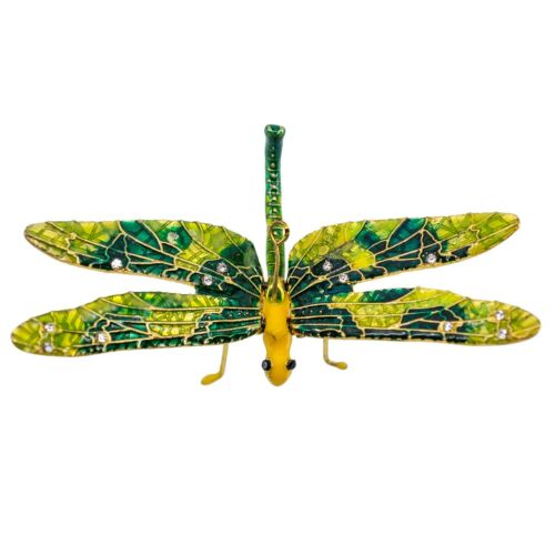 Cloisonne Enameled Metal Articulated Dragonfly Ornament Moving Wings Lime/Green