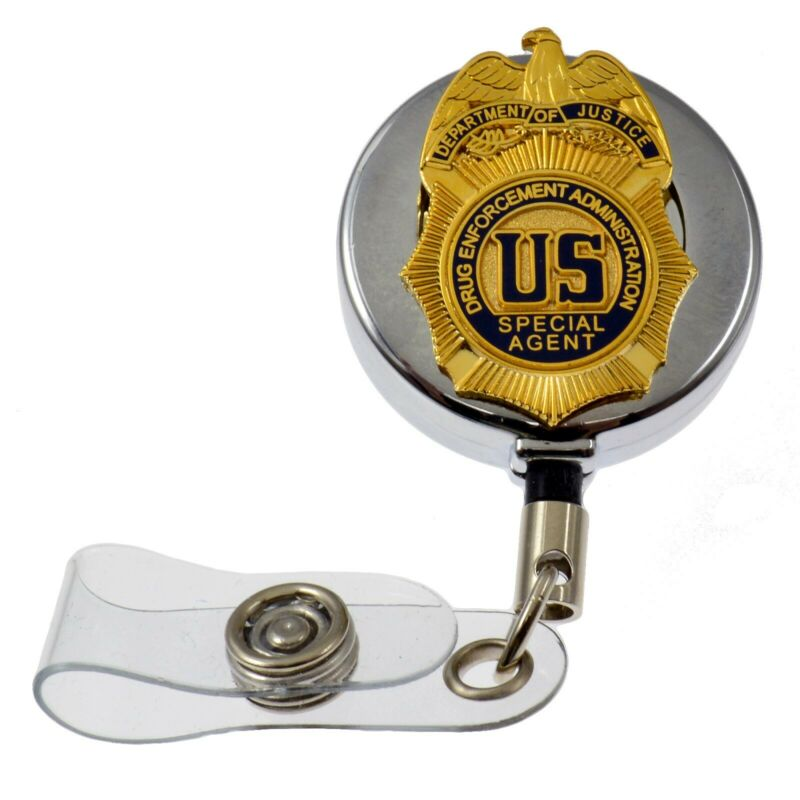 DEA Drug Enforcement Justice Special Agent Badge Retractable ID Card Holder Reel