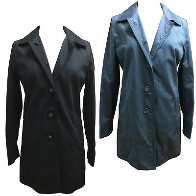 Coach 82372 Women's Sateen Walking Coat Lined Cotton Classic Jacket Black Blue Double Breasted Walking Coat