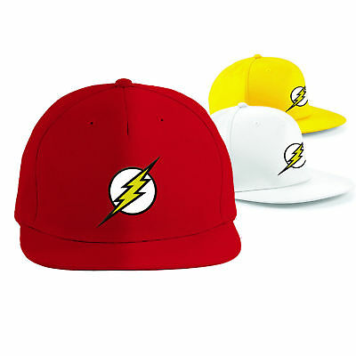 FLASH Cap Superhero Snapback Rapper Hat, DC Comics Embroidered Cap