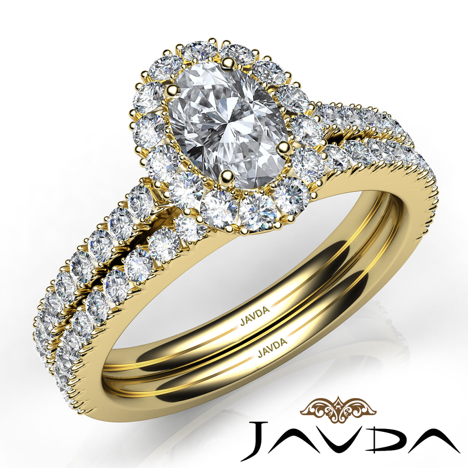 2.21ctw Halo Bridal French Pave Oval Diamond Engagement Ring GIA F-VVS2 W Gold 9