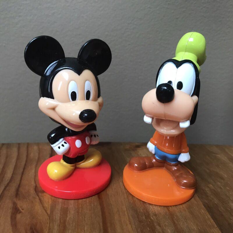 Kelloggs Disney MICKEY MOUSE & GOOFY Bobblehead Plastic Figures Set of 2