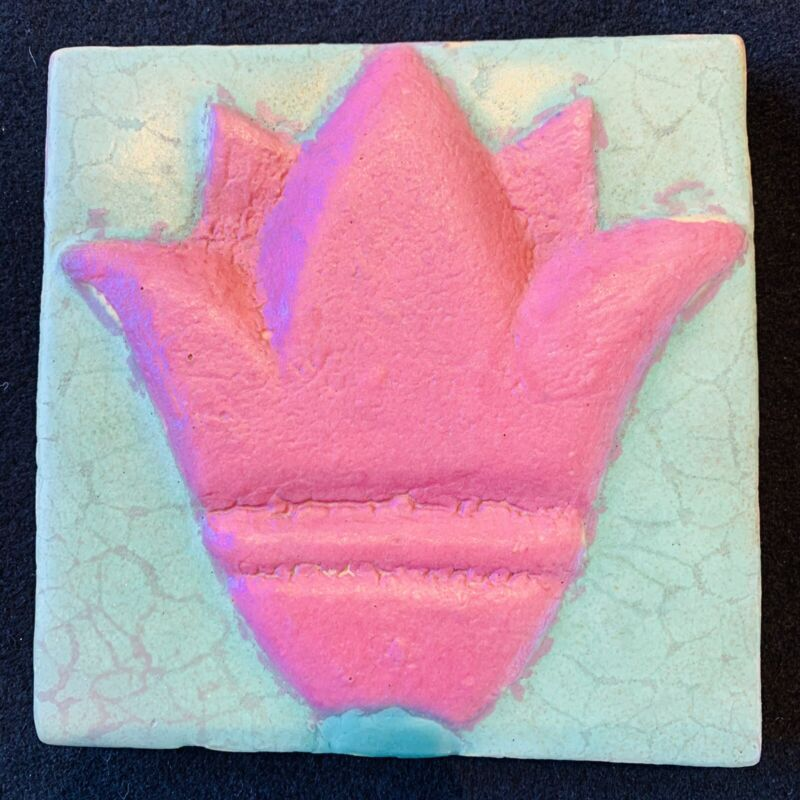 "Rare Arts and Crafts J. B. Owens 6"" sq.Tile. Stylized Tulip.Excellent Condition."
