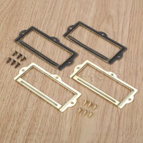 Retro Drawer Label Tag Pull Handle Jewelry Box Cabinet Frame File Card Holder