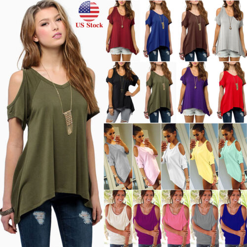f0210d319b83a Details about Plus Size Women Summer Cold Shoulder Tops Blouse Tee Short  Sleeve Loose T-Shirts