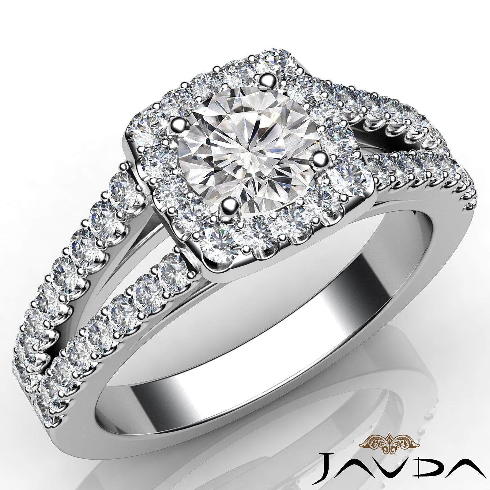 1.35ctw Shared Prong Round Diamond Engagement Ring GIA E-VVS2 White Gold Rings