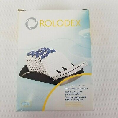 New Rolodex Rotary Business Office Card File 67082 Black 250 Cards Index Tabs