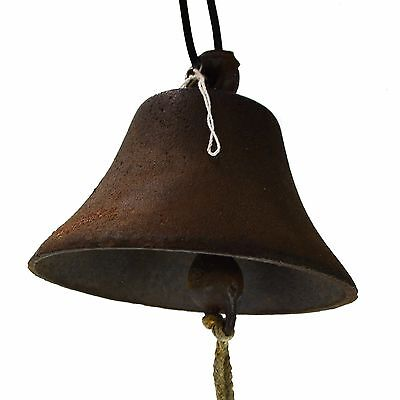 Antique Vintage Metal Large Cast Iron Hanging Farm Bell