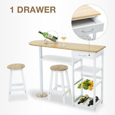 White Kitchen Island Cart Trolley Oak Dining Table Storage 2 Bar Stools & Drawer for sale  USA