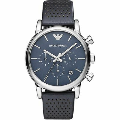Emporio Armani AR1736 Dress Blue Dial and Leather Mens Watch