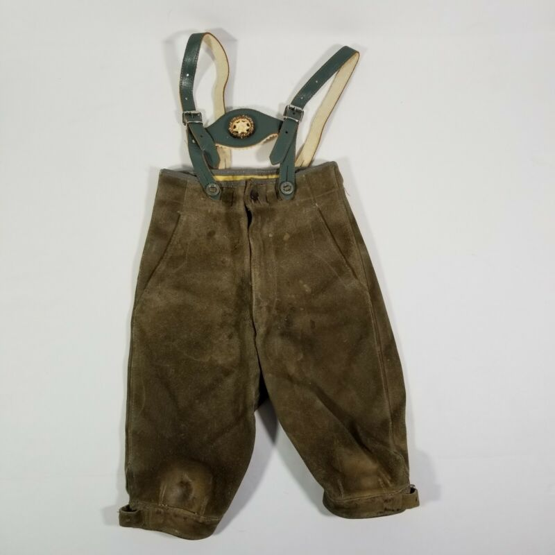 Boys Lederhosen Vintage Bavarian Pants Suede Oktoberfest Leather Child