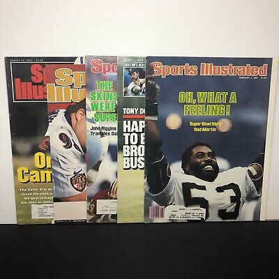 Vintage Sports Illustrated Magazine Cover Lot 5 1980s-90s Old Advertising PHOTOS