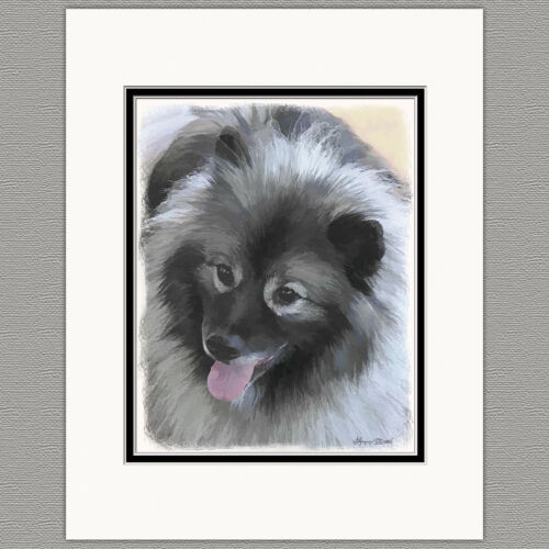 Keeshond Bailey Original Art Print 8x10 Matted to 11x14