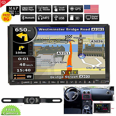 GPS Navigation In Dash Car Stereo 7'' Double 2 Din DVD Player FM/AM Radio USB