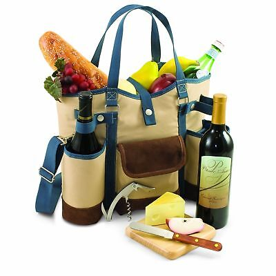 Picnic Time 'Wine Country Tote' with Cheese Service and Corkscrew, Tan/Blue NEW