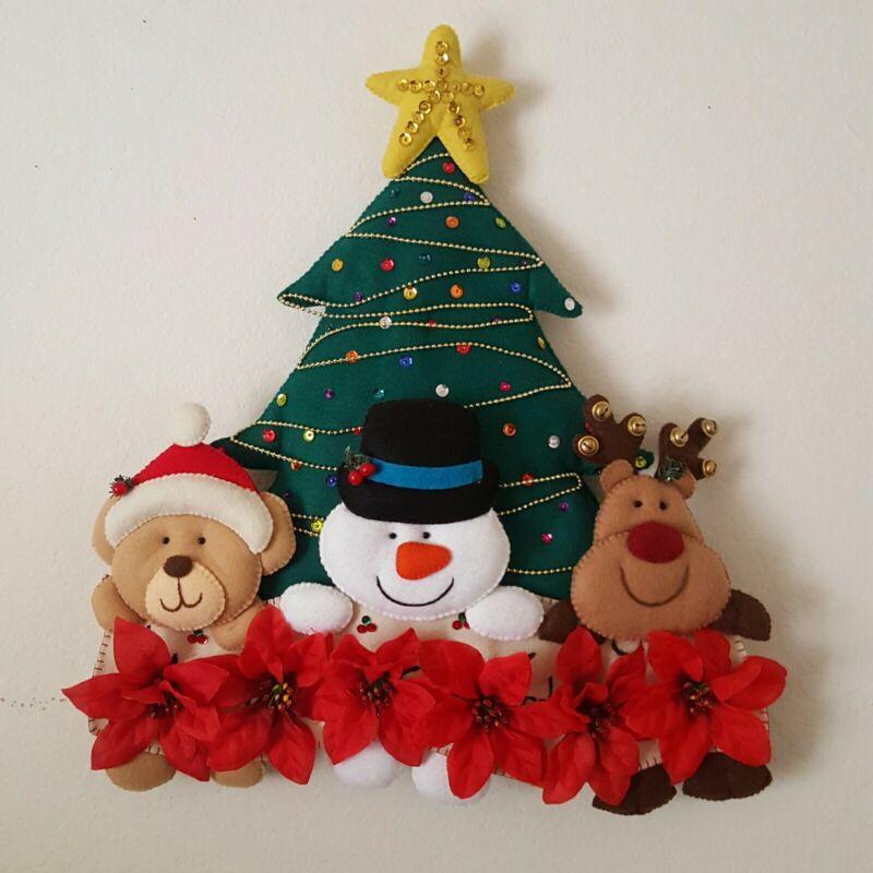 Felt Sequin christmas Tree wreath   Wall Hanging Sign Door Decor Hand made felt