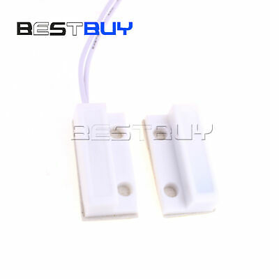 1pair Mc-38 White Wired Door Window Sensor Magnetic Switch Home Alarm Dc Bbc