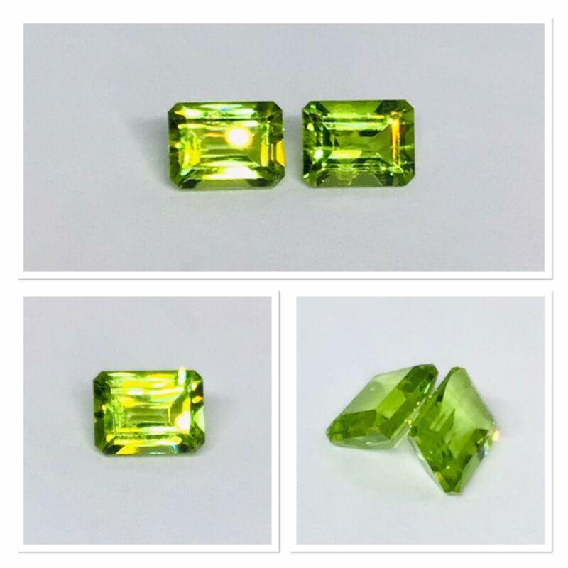 Exceptionally Pair Of Natural Peridot Emerald Cut Gemstones 3.40 Carat
