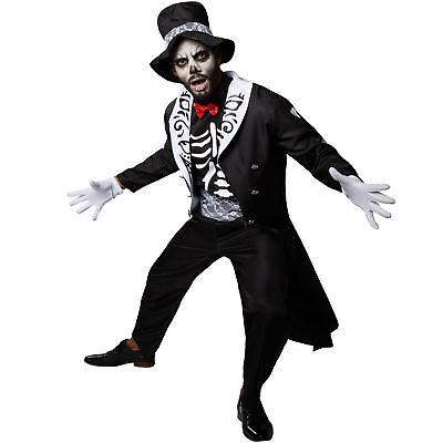 Tag Der Toten (Kostüm Herren Gentleman Skelett Tag der Toten Fasching Karneval Halloween)
