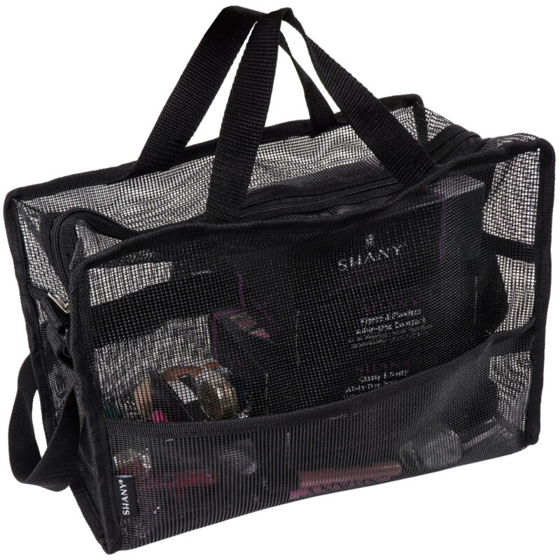 SHANY Collapsible Makeup Mesh Bag and Cosmetics Travel Tote with Pockets – Black