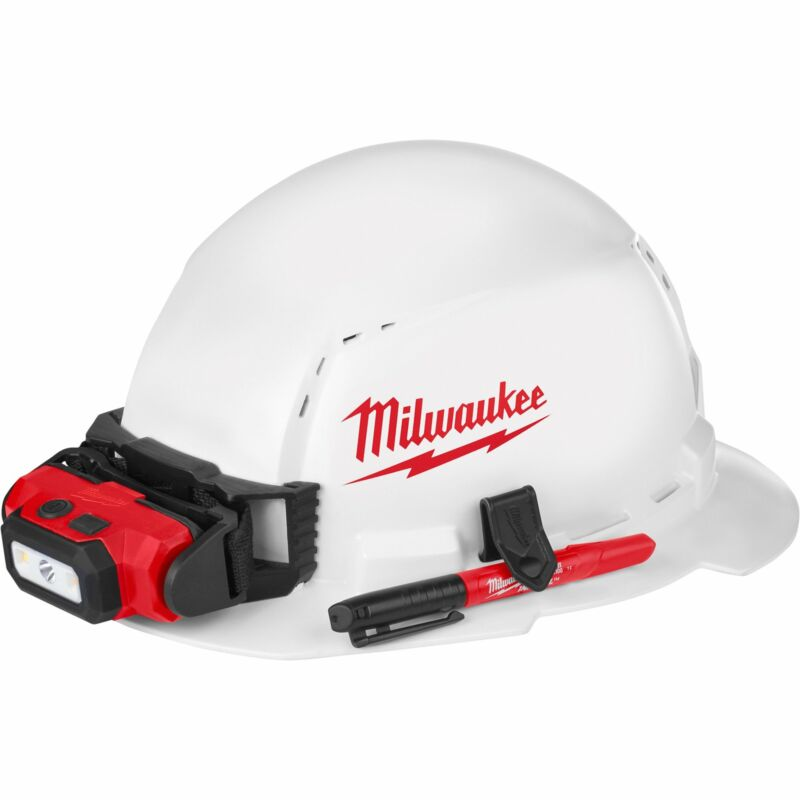 Milwaukee Full Brim Vented Hard Hat w/Ratchet Suspension and BOLT Access White