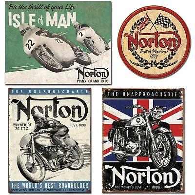 DE Sign Retro Metal Norton Motorcycle Sign Bundle - Norton Isle of Man, Norto...