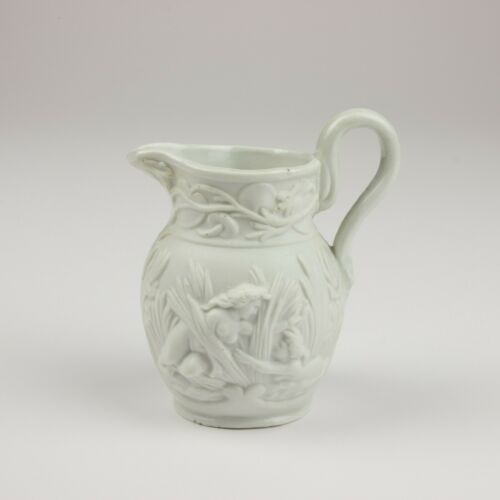 "Antique British Parian 3"" Relief Molded Jug/Pitcher, Nudes in the Rushes"