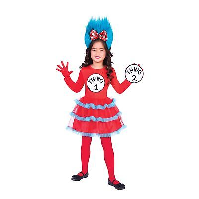 Thing One Two Dress Costume Girls Red Fur Hair Book Day Outfit Seuss Gloves - Thing One Outfit
