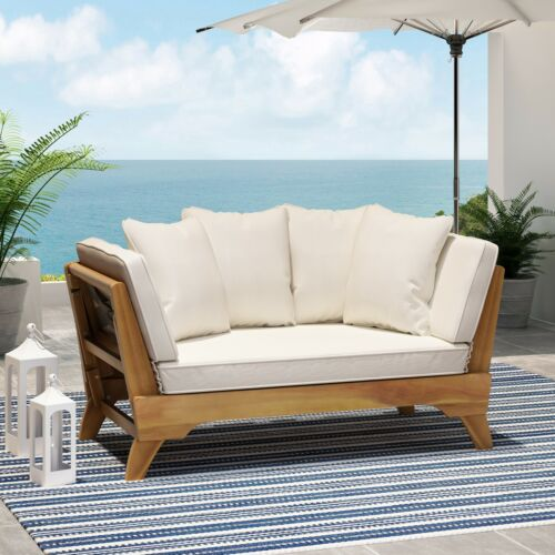 Oceanna Outdoor Acacia Wood Expandable Daybed with Water Resistant Cushions Home & Garden