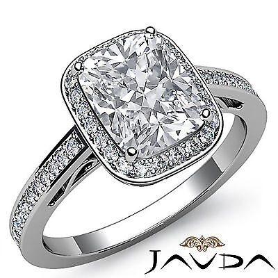 Filigree Halo Pave Setting Cushion Diamond Engagement Ring GIA G Color SI1 1.5Ct