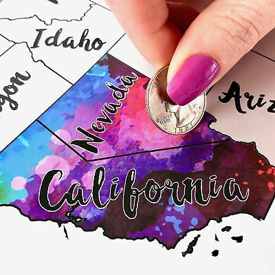 Scratch Off Map USA - Scratch The Silver Foil Of The United States  Reveal