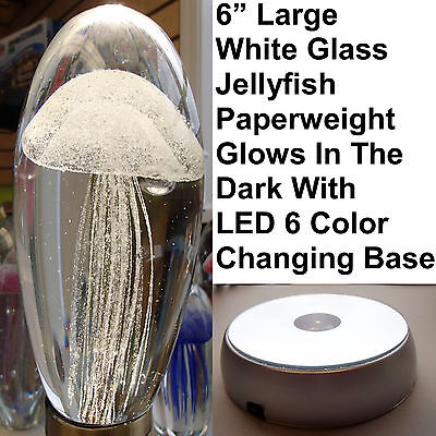 "Large White Glass Jellyfish 6"" Glow In The Dark Paperweight RGB LED Base Stand"