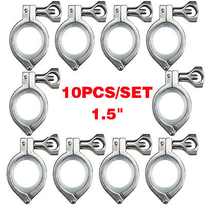 1.5 Tri Clamp Clover Sanitary Fits 50.5mm Od Ferrule 10pack Stainless Steel 316